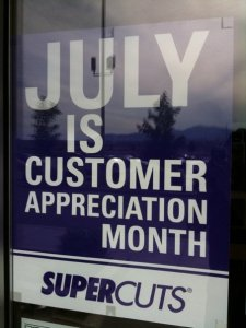 July is customer appreciation month at super cuts